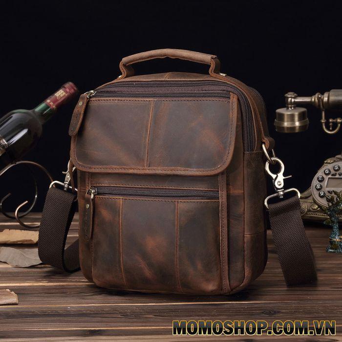 Túi đeo chéo - đeo vai da bò sáp đựng Ipad Mini