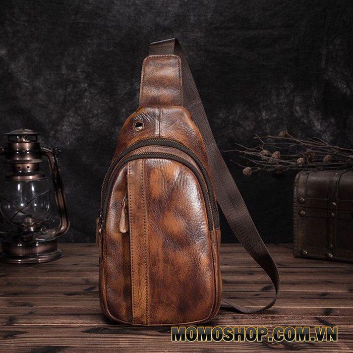 Túi đeo bụng, đeo chéo da thật đa năng phong cách thời trang cực ngầu