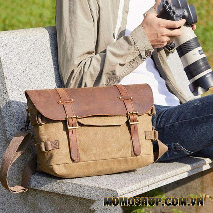 Túi đeo chéo vải bố đựng máy ảnh có nắp da